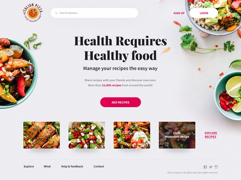 Recipes Homepage design creative modern clean typogaphy healthy eating cooking kitchen healthy food recipes healthy