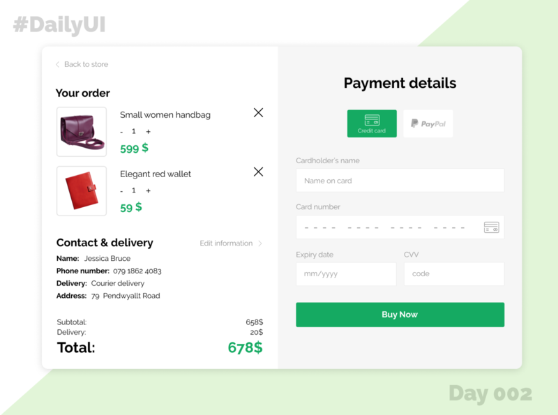 Day 002 - Credit card chekout credit card credit card checkout checkout design ui daily ui dailyui