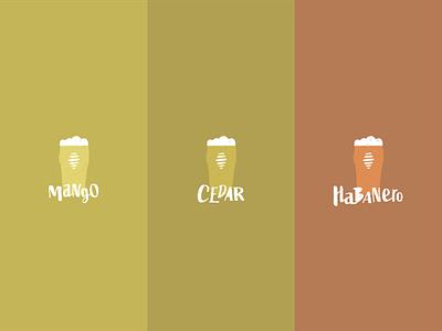 Go Hop Yourself Flavors branding pint pint glass beer glass orange illustration typography brand design brew master brewery beer brewing brew craft brewing craft beer