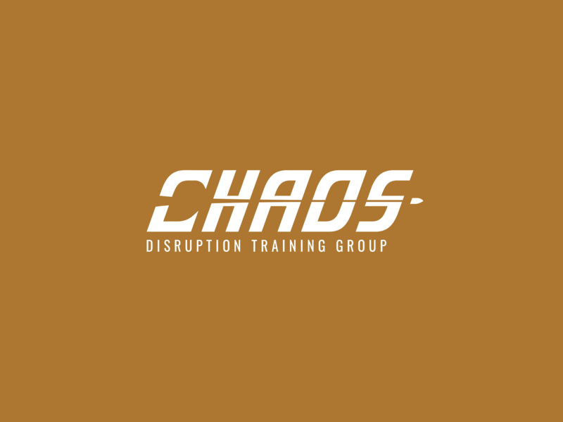 Chaos Disruption Training Group chaos disruption training group training defense gun bullet weapon chaos wordmark logo design vector branding brand logo