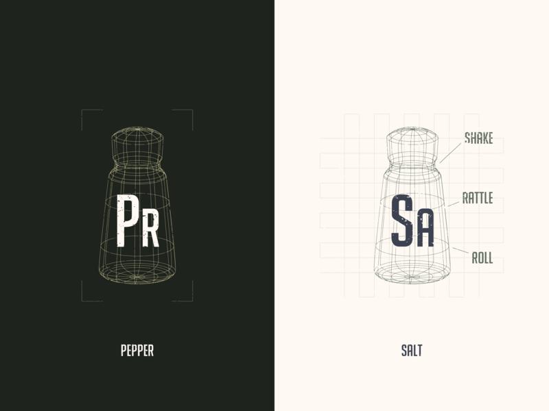 Salt Tech spices dining food restaurant blue print blueprint line 3d shaker pepper salt logo design branding brand logo vector