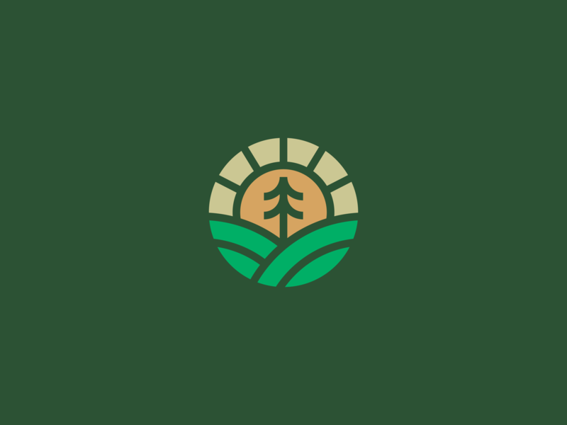 Environmental Experiences Icon minimalism logo brand line minimalist minimal natural wild green preserve forests sustainability enviroment nature hills tree sun simple icon