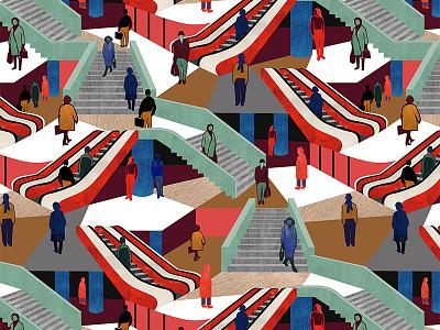 Metro transport branding public metro illustration tomcsanyi vector textile design pattern design pattern digital print design