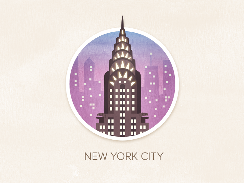 New York City illustration watercolour painted textured icon badge pin