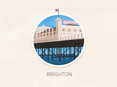 Brighton illustration watercolour painted textured icon badge pin