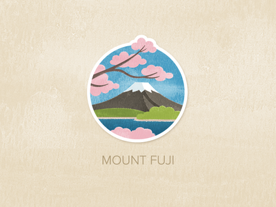Day One: Mount Fuji illustration watercolour painted textured icon badge pin