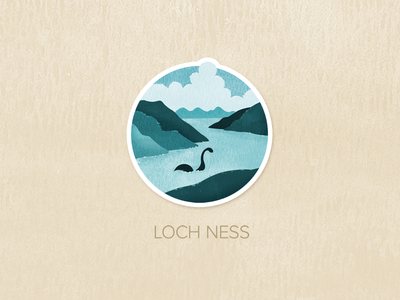 Day Three: Loch Ness illustration watercolour painted textured icon badge pin