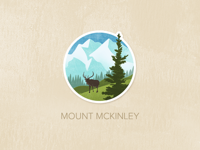 Day Eight: Mount McKinley illustration watercolour painted textured icon badge pin