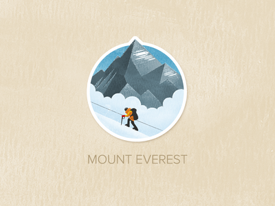 Day Thirty-Three: Mount Everest illustration watercolour painted textured icon badge pin
