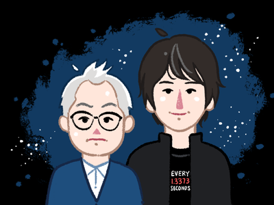 Brian Cox and Robin Ince physics science comic caricature cute cartoon retro painted textured illustration