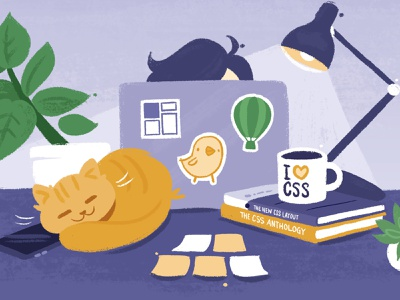 Rachel Andrew's CSS Site plants books desk laptop tech cat painting comic caricature cute cartoon watercolour textured painted illustration