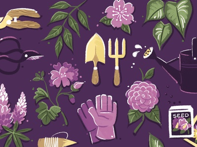 Meghann's Garden Services smallbusiness landscaping tools plants flowers gardening textured painted illustration