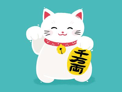 Day 2/100 — Manekineko the100dayproject 100daysofjapan cat japan painting illustration