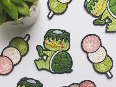 Kappa & Dango culture sweets food kawaii patches embroidered patch japanese japan cute illustration