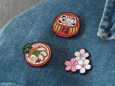 Ramen, Daruma, and Sakura Pins