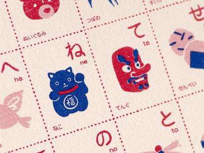 Japanese Kana Risograph Prints alphabet printmaking print retro japan illustration risograph riso japanese