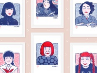 Japanese Women Who Changed the World Riso Prints risoprint duotone riso japanese culture japan feminist women japanese illustration