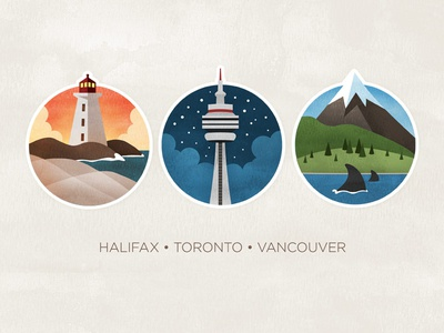 Canada illustration watercolour textured icons