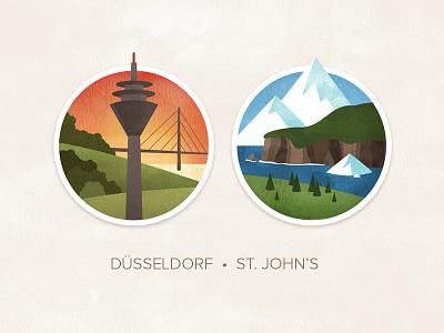 Düsseldorf & St. John's illustration icon texture badge