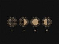 Lunar Phases June 2016 geometric logotype logo gold pattern architecture branding brand art deco typography alphabet muralnoir