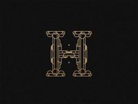 Letter H geometric or logotype logo gold pattern architecture branding art deco typography alphabet muralnoir