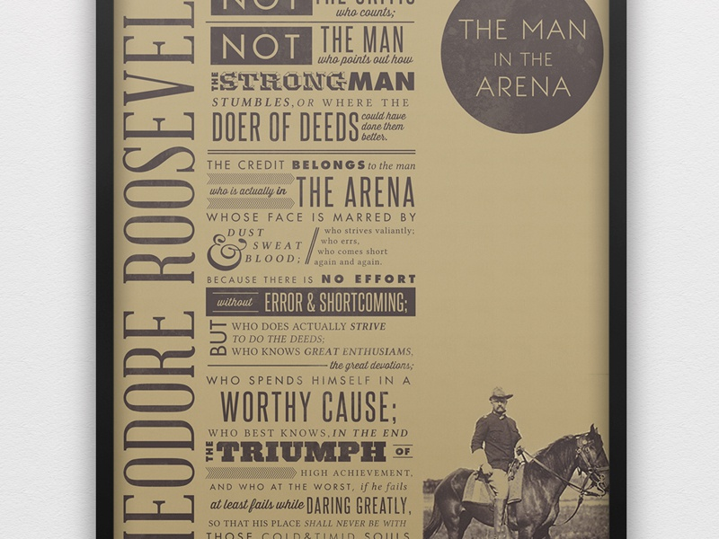 Teddy Roosevelt Quote quote poster typography typographic quote antique old-fashioned