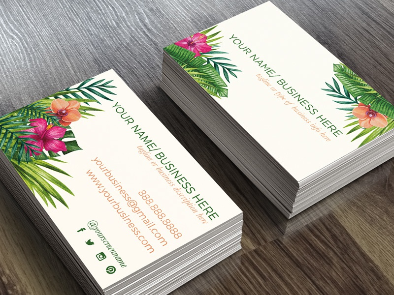Tropical floral business card template by the lovely lyss dribbble tropical floral thelovelylyss businesscardmockup im creating some business card templates to accmission Choice Image