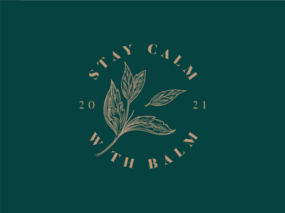 Stay Calm With Balm luxury branding peppermint leaf floral logo self care oil balm