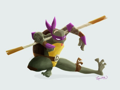 Donatello fight turtle tortugas photoshop bo kendo ninja donatello illustration ilustración tattoo tatuaje lapendeja fighter tortuga
