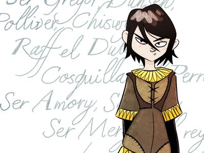 Arya's List juego list de tronos arya stark thrones ilustración aria girl game illustration
