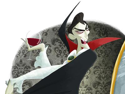 Dracula dracula illustration color blood wine mirror count conde ilustración