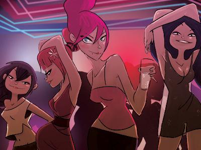 Lobas lobas ¿Qué miráis todas, lobas? lobas girl women mujeres disco illustration drawing ilustración color photoshop