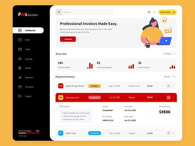Dashboard Invoice UI illustraion user interface design user experience design invoice design website design webdesign dashboard template dashboard design dashboard ui