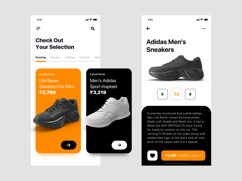 Adidas store App ecommerce app store app cart page app design ios app development ui design ios app mobile app design figmadesign user interface design