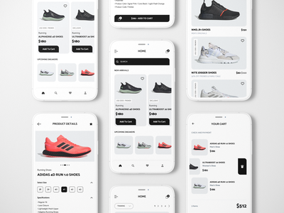 Adidas shoes store app designer mobile app design ios app development figmadesign user interface design running shoes add to cart clean ui minimum mobile design mobile ui adidas shoes app ecommerce app shoes store