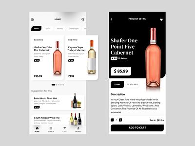 Wine Shop App cart ios app development mobile app development clean design wine app wine bottle minimalist mobile app design user interface design figmadesign