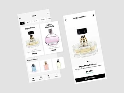 Perfume Product App ios app development ios app design minimalist clean ui ecommerce app user experience design figmadesign mobile app design user interface design