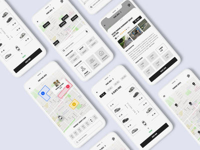 Car Parking Application clean design minimum ui kit design ui design ios app development mobile app design user interface design