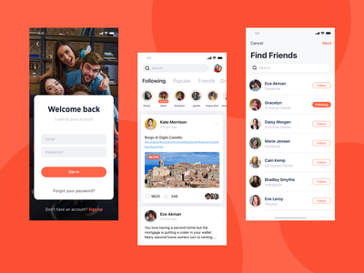Social Mobile App UI find friends app instagram facebook social media app social mobile app design ios app development ios app figmadesign mobile app design user experience design user interface design