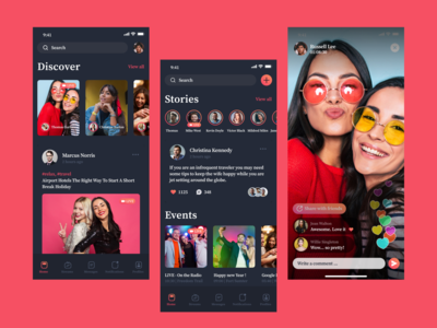 Live stream mobile app ui design