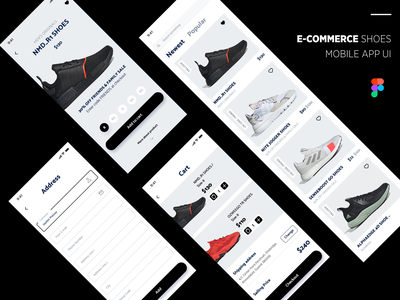 e Commerce Shoes Mobile App address checkout add to cart man shoes adidas originals adidas shoes shoes app e commerce app design e commerce ui design app designer ios app app design figma ios app development mobile app design user experience design user interface design figmadesign