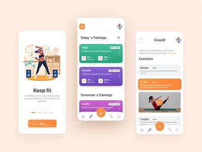 fitness app app design orange fitness app