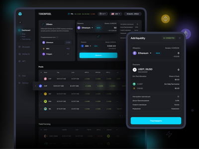 TOKENPOOL admin panel dashboard pools swap dex app interface
