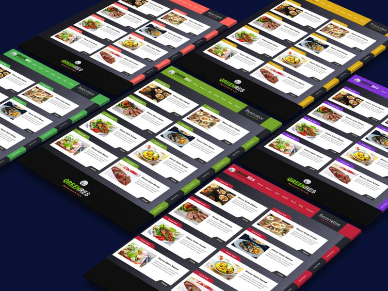 Menu Highlighted Restaurant Website Template menu design html css template design website restaurant design ui new shot debut