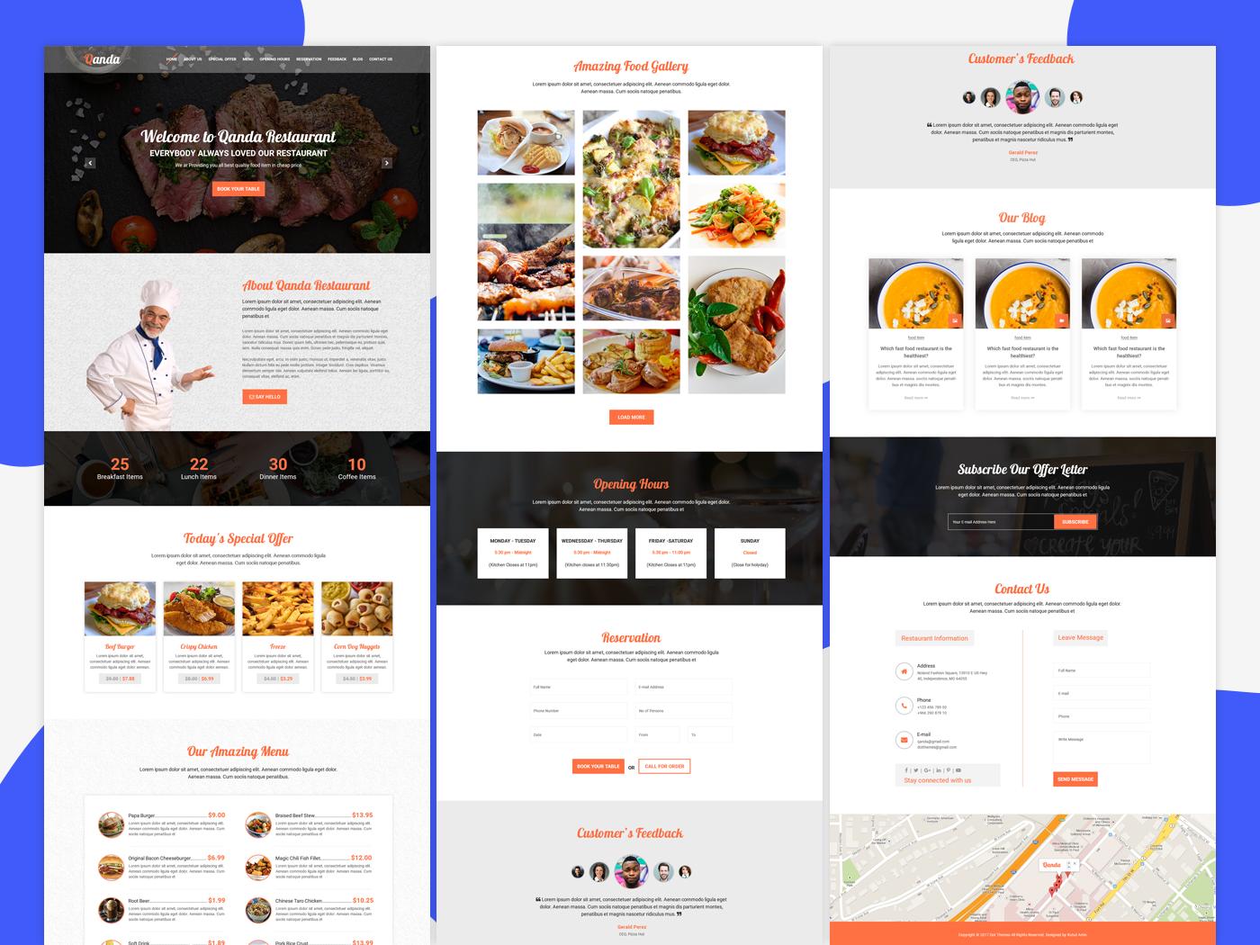 Quanda - Pizza shop restaurant website template by