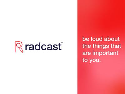 Radcast Logo r letter logo design red podcasting r mark r logo rlogo radio podcast logo podcast colorful vector typography adobe illustrator logotype logodesign logo design minimal flat