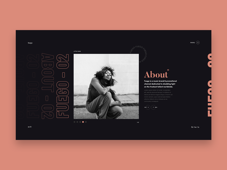 Fuego - About Slider threejs webgl slider fire fuego clean ux ui identity branding webdesign web typography design art direction