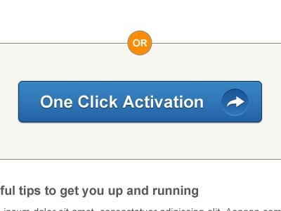 One Click Activation button blue orange text email call to action