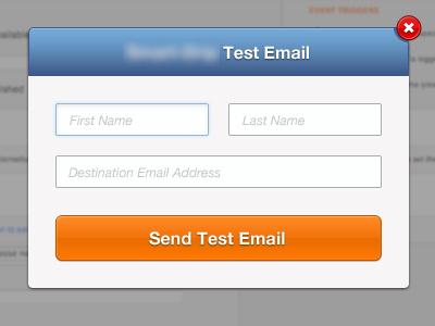 Test Modal orange blue header cancel modal