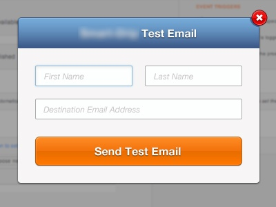 Test Modal orange blue header cancel modal